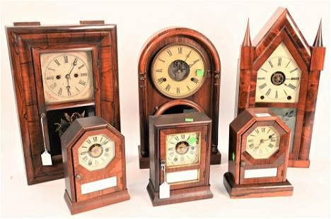 Group of Six Mantel Clocks, to include a Brewster &
