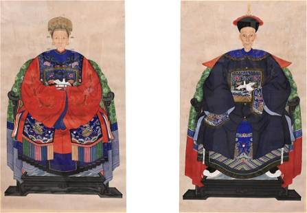 Two Large Chinese Ancestral Portraits, both watercolor