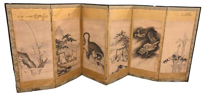 Six Fold Japanese Dressing Screen, depicting village