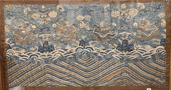 Chinese Embroidered Dragon Textile, framed and made