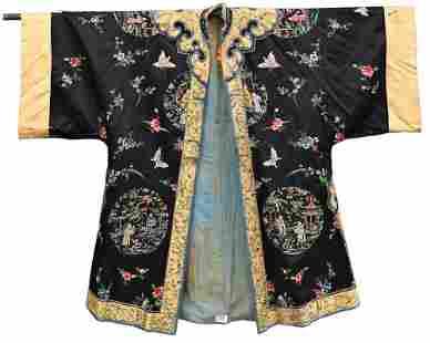 Chinese Silk Robe, dark blue ground, having embroidered