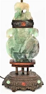 Chinese Green Quartz Urn, having carved animals, made