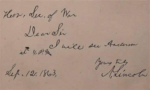 President Abraham Lincoln Signed Written Letter to