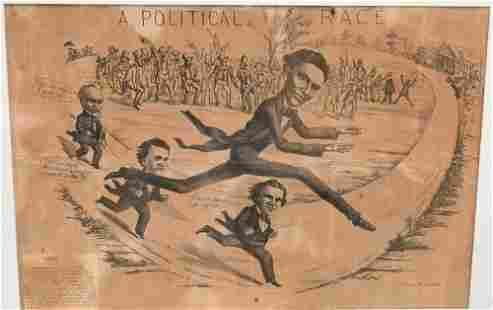 """Large Framed Political Cartoon, """"A Political Race"""","""