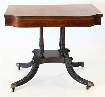Federal Mahogany Game Table, on carved and fluted