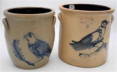 Two Stoneware Crocks, each having cobalt blue birds,