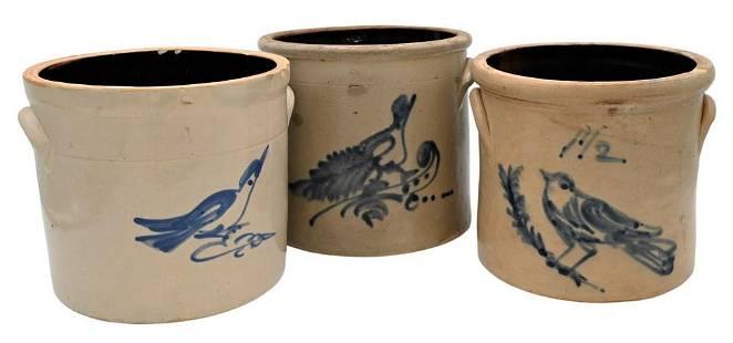 Three Stoneware Crocks, having blue bird on branch