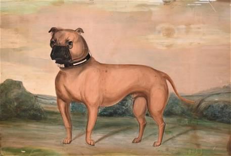 Primitive Folk Art Watercolor, boxer (dog) in