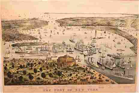 """Currier & Ives, """"Port of New York from Battery South,"""