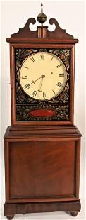 Aaron Willard Mahogany Shelf Clock, having eglomised