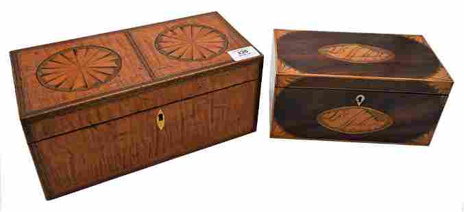 Two Federal Tea Boxes, to include one tiger maple,