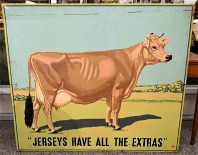 American Silk Screened Metal Dairy Cow Advertising