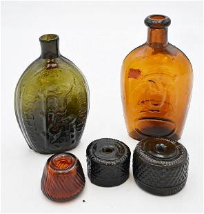Five Blown Glass Items, to include three inkwells, a