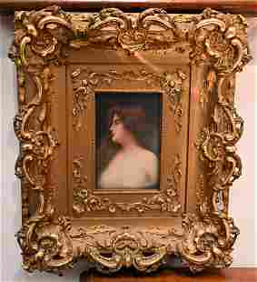 Wagner KPM Porcelain Plaque, having painted maiden,