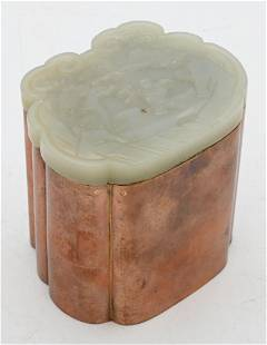 Chinese Copper and Jade Box, white jade top carved with