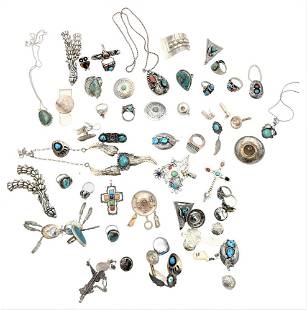 Large Lot of Silver, to include rings, pins, earrings,