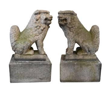 Pair of 19th Century Carved Granite Foo Dogs