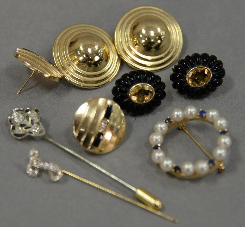 Jewelry lot with two gold and diamond stick pins, three
