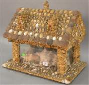 Maine folk art sea shell church or house model, late