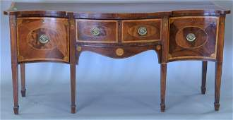 George III mahogany sideboard with panel and banded