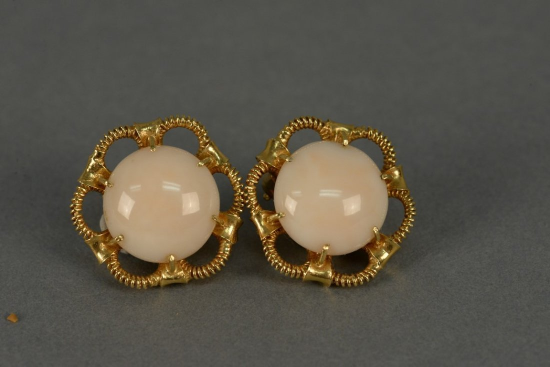 18K clip on earrings, each set with large cabochon cut - 2