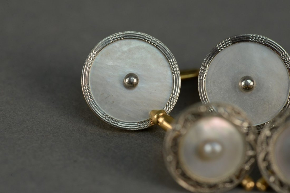 Seven piece gold and mother of pearl cufflink and - 2