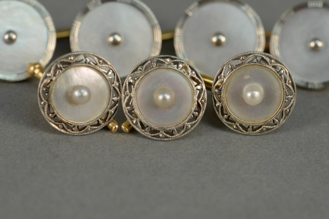 Seven piece gold and mother of pearl cufflink and - 3