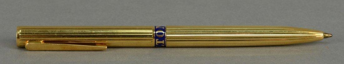 Verdura 18K gold pen, center with enameling marked