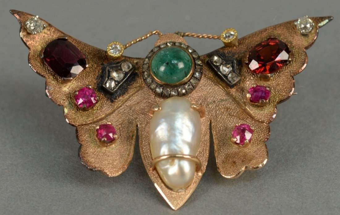 14K butterfly pin set with diamonds, rubies, emerald,