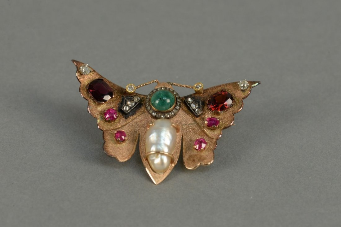 14K butterfly pin set with diamonds, rubies, emerald, - 2