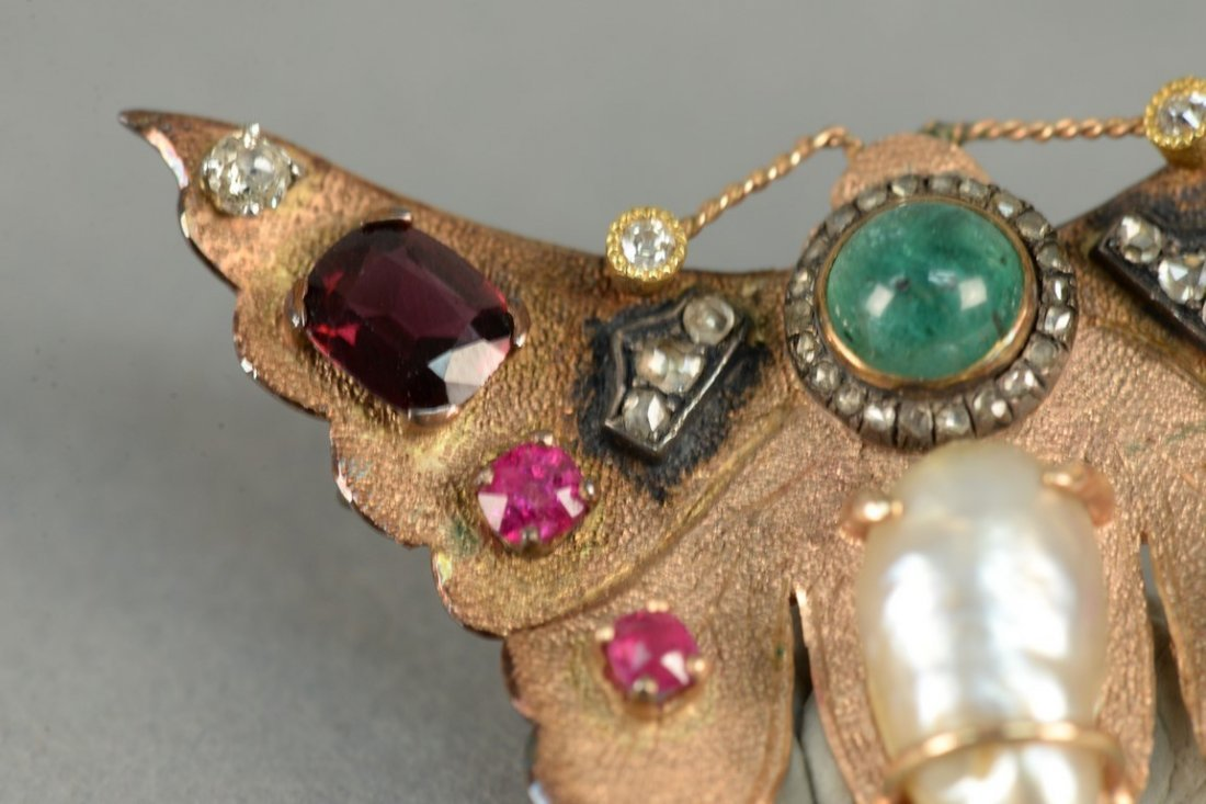 14K butterfly pin set with diamonds, rubies, emerald, - 3