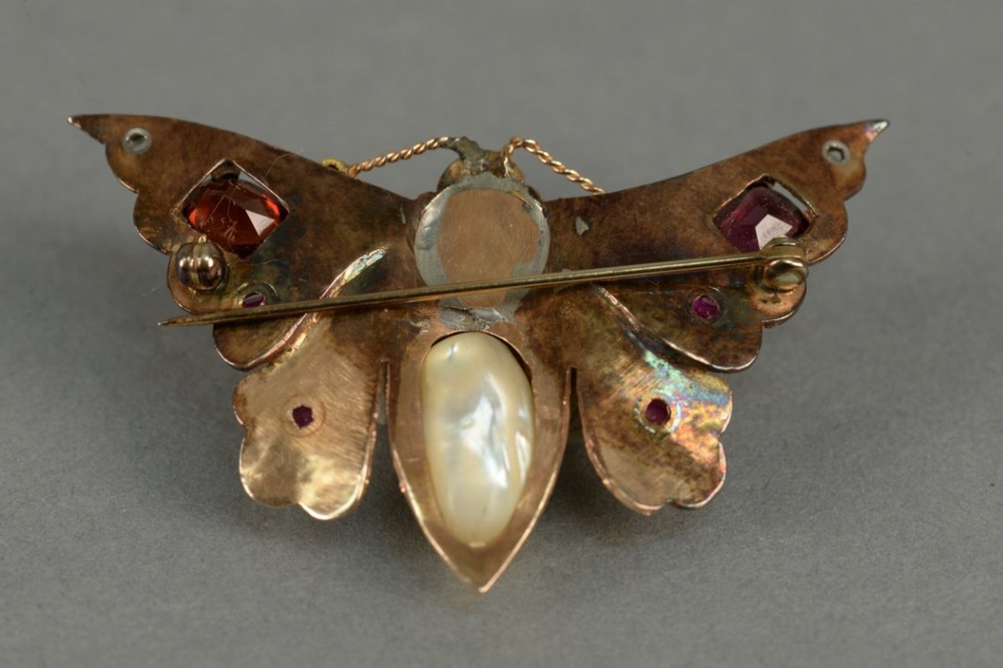 14K butterfly pin set with diamonds, rubies, emerald, - 6