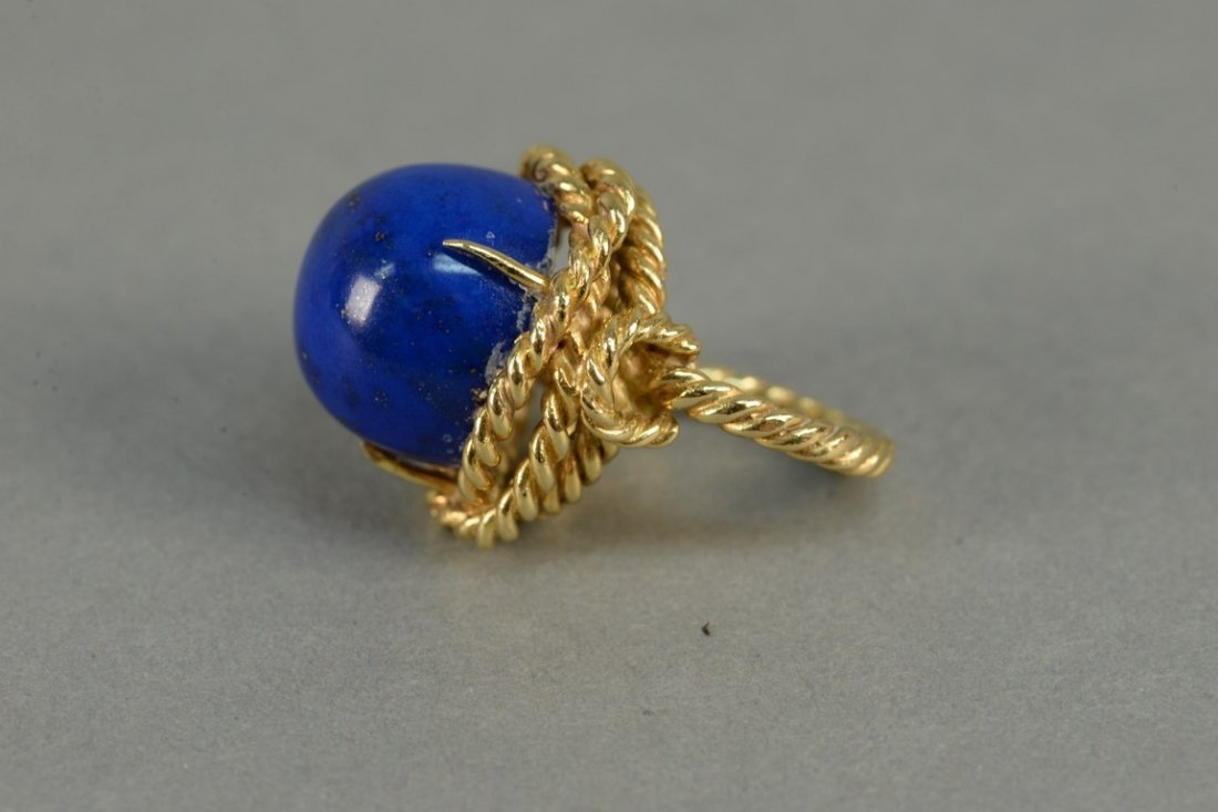 18K ring with large cabochon cut lapis, ring in rope - 3