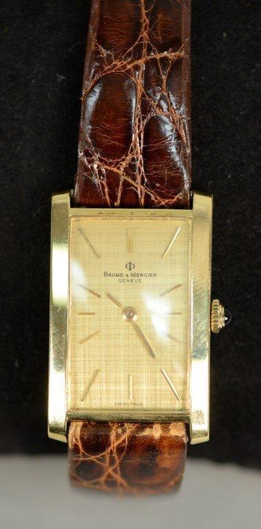 Baume & Mercier 18K rectangular wristwatch with brown