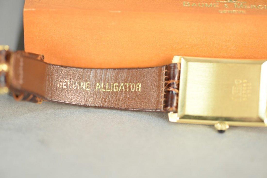 Baume & Mercier 18K rectangular wristwatch with brown - 6
