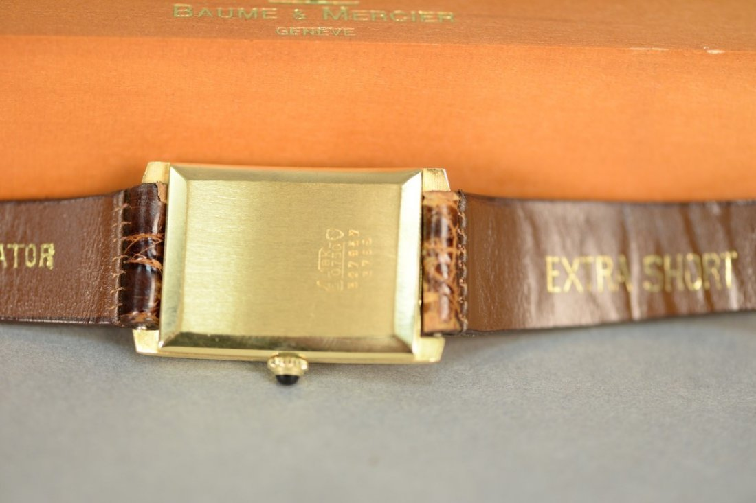 Baume & Mercier 18K rectangular wristwatch with brown - 7