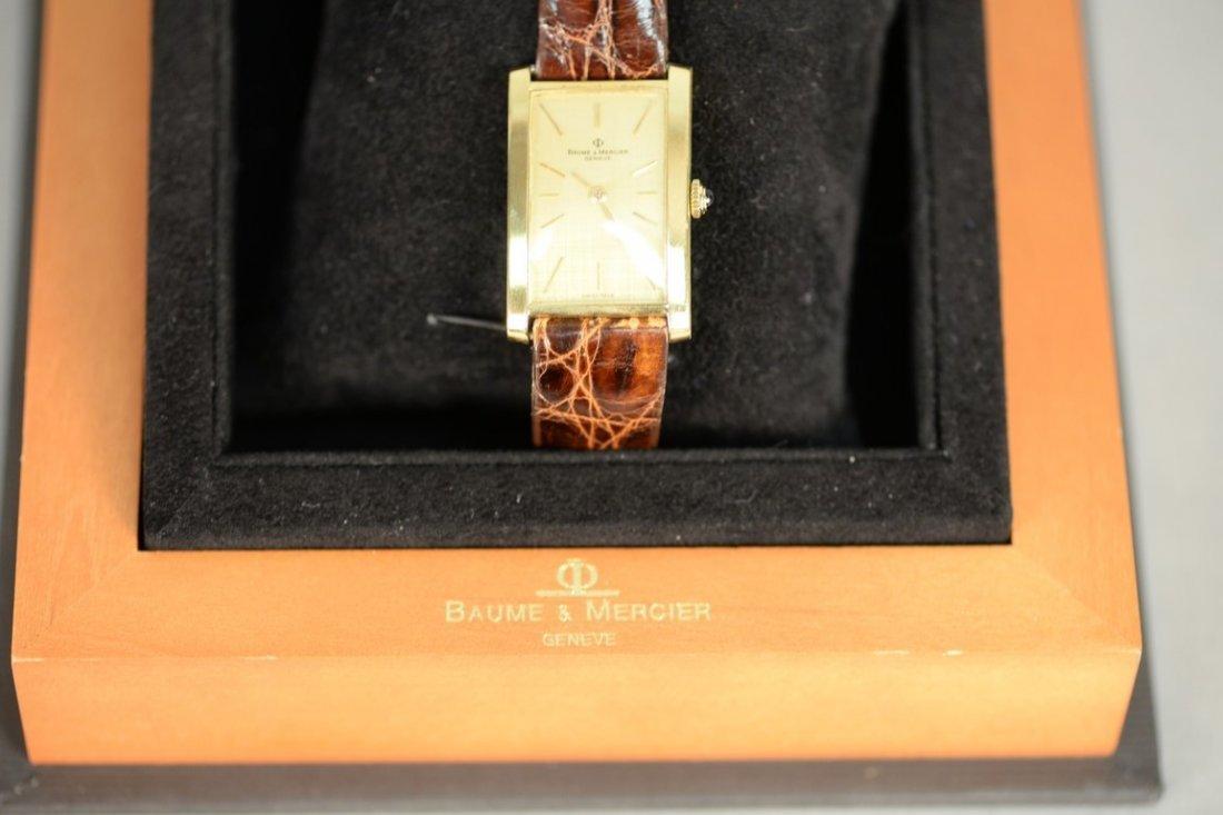 Baume & Mercier 18K rectangular wristwatch with brown - 8