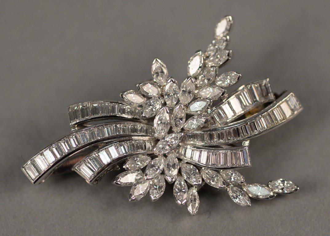 Platinum and diamond brooch/pendant set with marquis