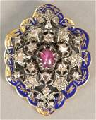 14K gold and enameled Victorian brooch mounted with