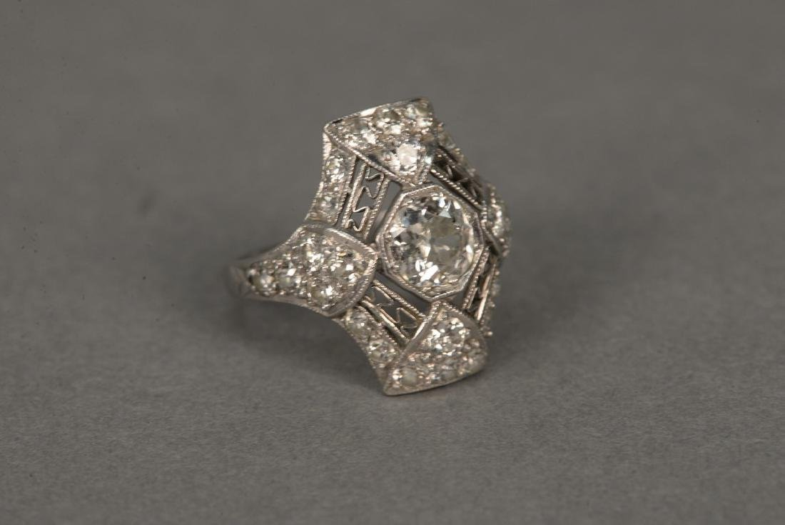 Platinum and diamond ring having center diamond - 2