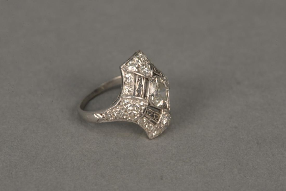 Platinum and diamond ring having center diamond - 3
