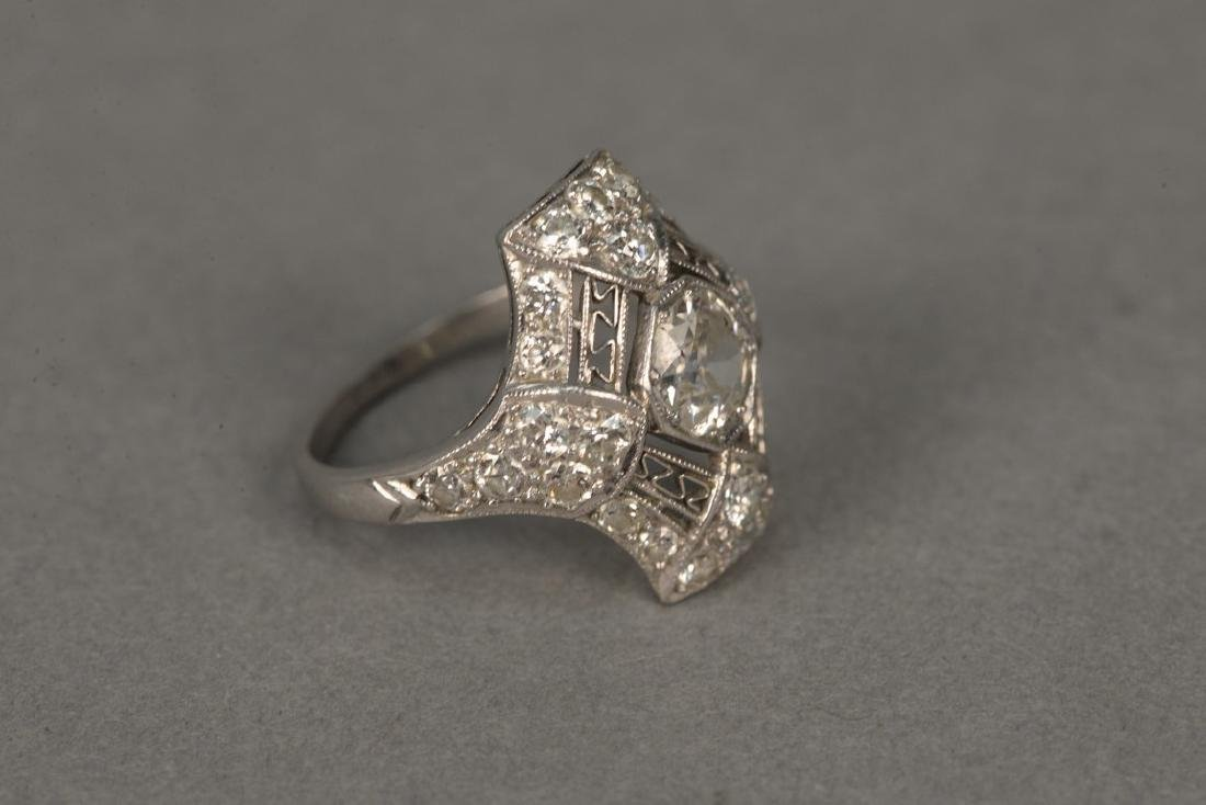 Platinum and diamond ring having center diamond - 4
