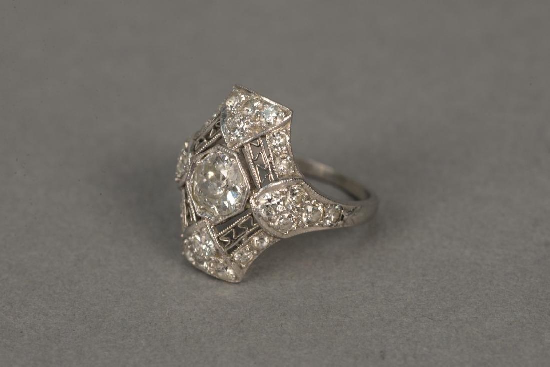 Platinum and diamond ring having center diamond - 6