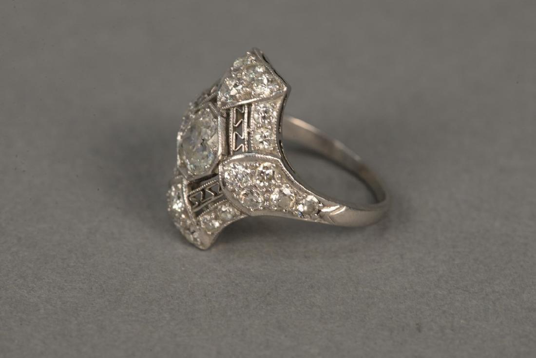 Platinum and diamond ring having center diamond - 7