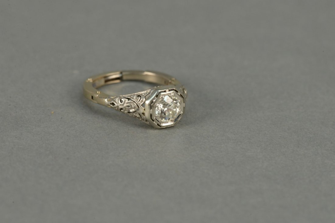 14K gold ring set with center diamond approximately - 2