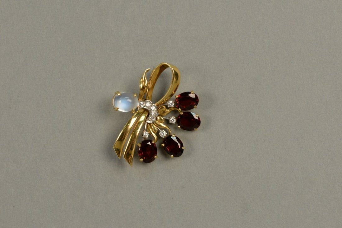 18K gold floral pin set with red stones, eight - 2