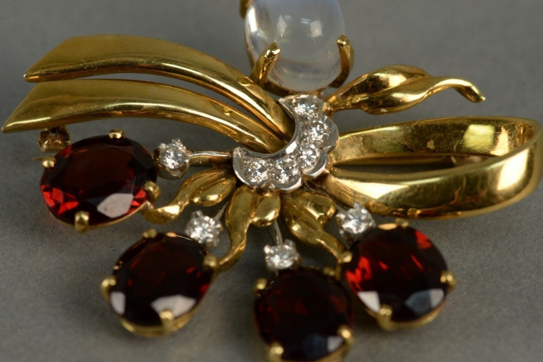 18K gold floral pin set with red stones, eight - 4