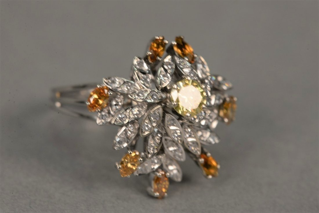 18K white gold cocktail ring set with center yellow