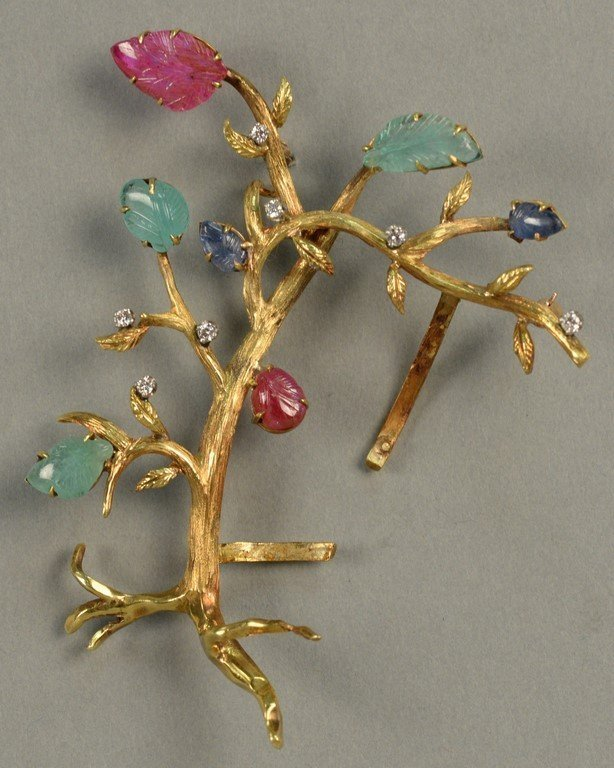 18K brooch in form of a tree with seven diamonds and