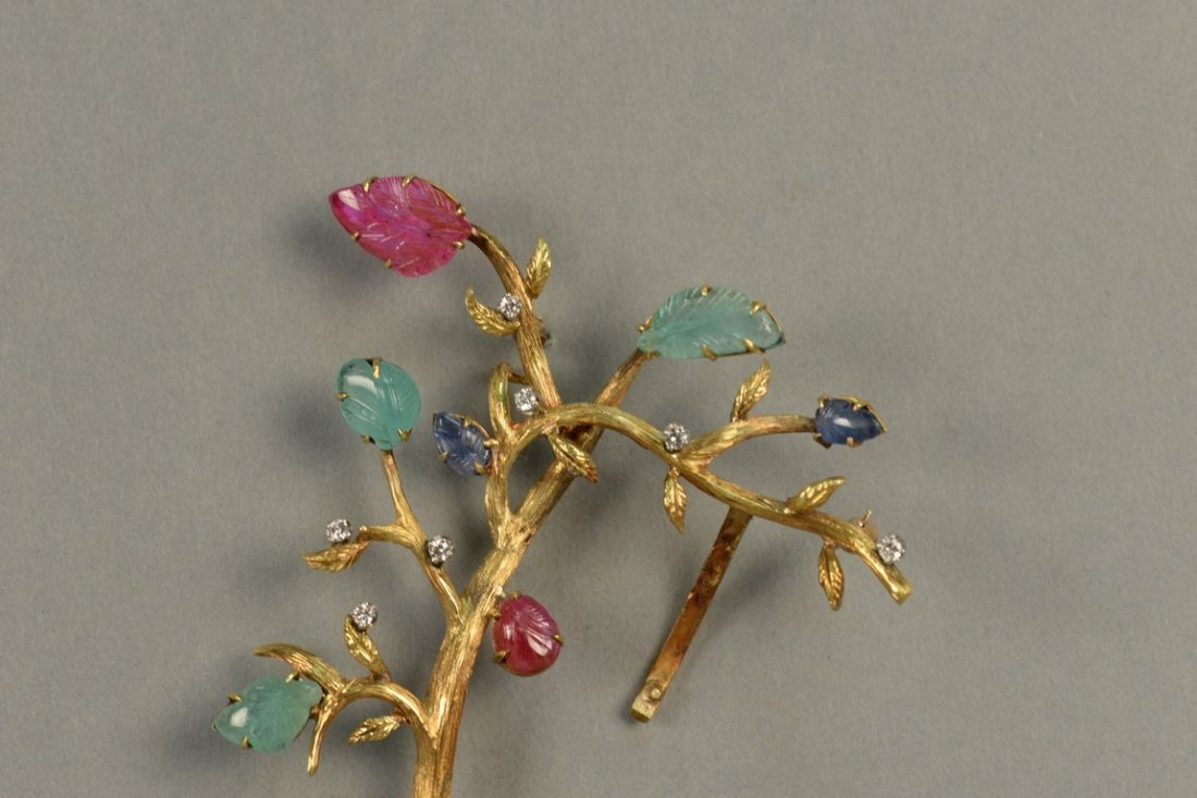 18K brooch in form of a tree with seven diamonds and - 2